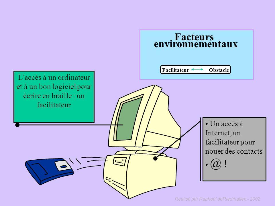 Réalisé par Raphaël deRiedmatten - 2002 Facteurs environnementaux Facilitateur Obstacle Une épouse autoritaire et acariâtre, quel obstacle ! Lenvironn