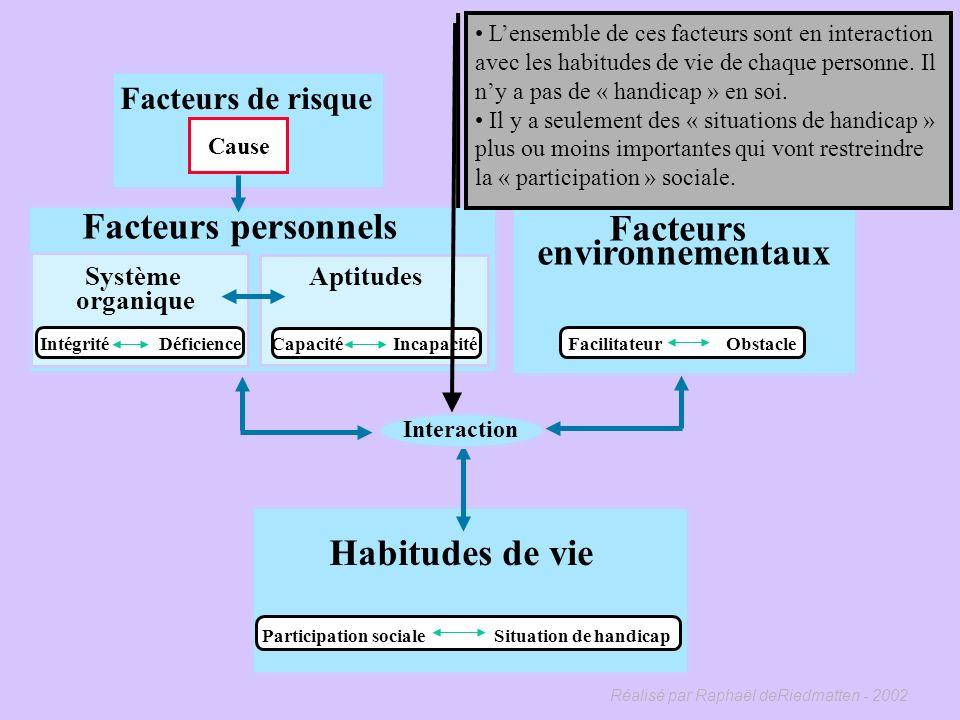 Réalisé par Raphaël deRiedmatten - 2002 Facteurs environnementaux Facilitateur Obstacle Laccès à un ordinateur et à un bon logiciel pour écrire en bra