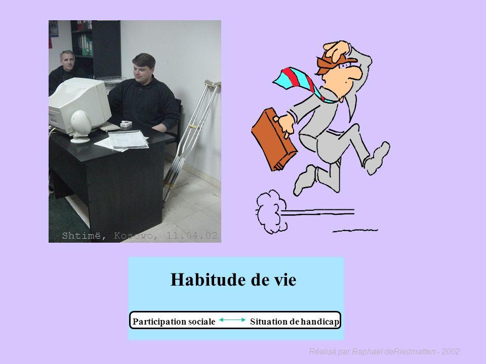 Réalisé par Raphaël deRiedmatten - 2002 Habitude de vie Participation sociale Situation de handicap « Une situation de handicap correspond à la réalis
