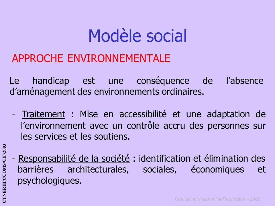 Réalisé par Raphaël deRiedmatten - 2002 APPROCHE FONCTIONNELLE - Traitement : réadaptations fonctionnelles. - Responsabilité de la société : améliorer