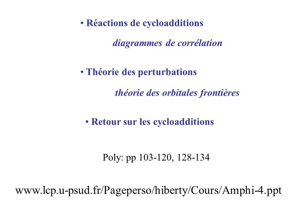Cycloadditions (géométrie dapproche supra-supra) « Diels-Alder », 6 électrons participent Dimérisation de léthylène, 4 électrons participent Dimérisation du butadiène, 8 électrons participent Etc….