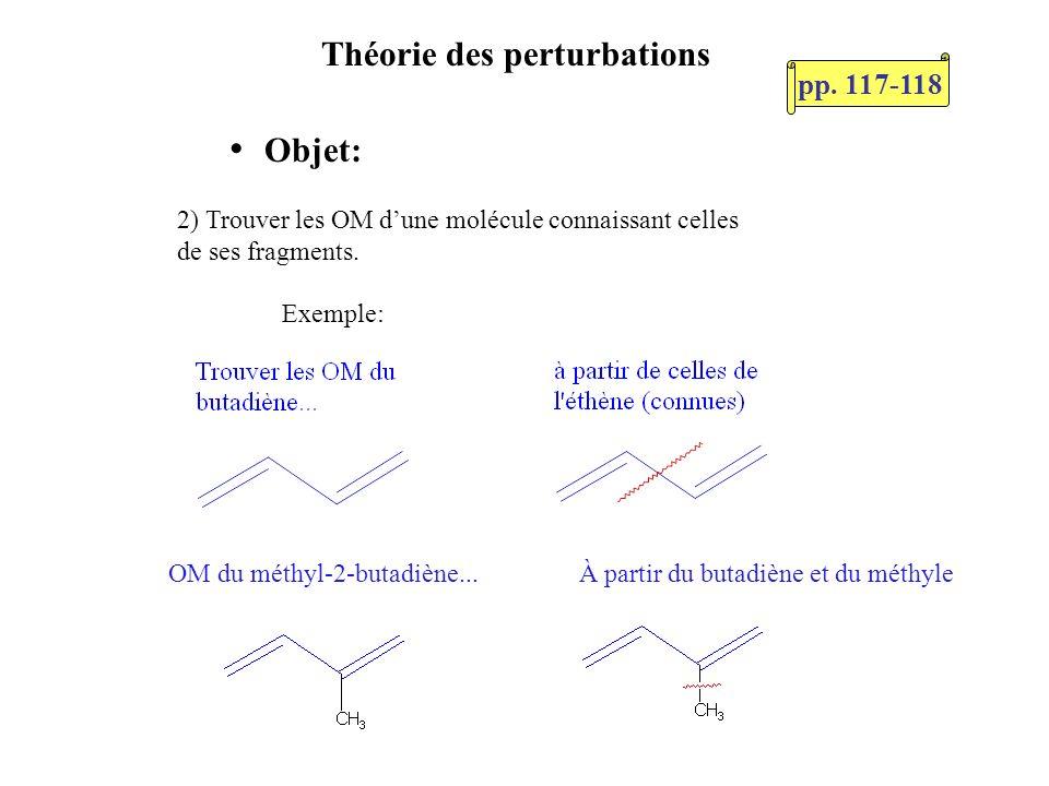 Théorie des perturbations Objet: 2) Trouver les OM dune molécule connaissant celles de ses fragments. Exemple: OM du méthyl-2-butadiène...À partir du