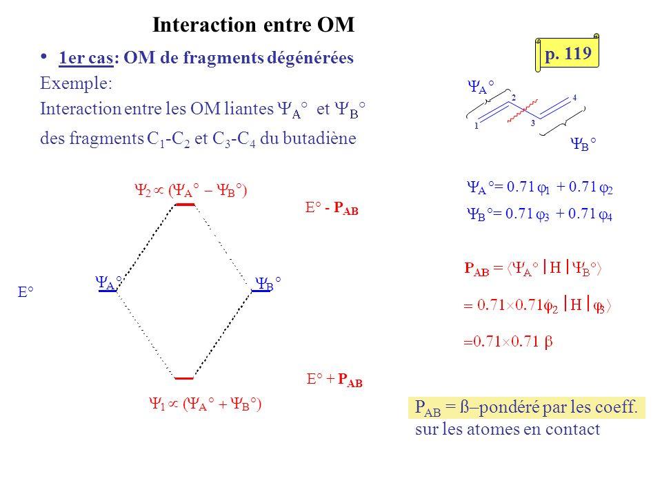 Interaction entre OM 1er cas: OM de fragments dégénérées Exemple: Interaction entre les OM liantes ° et ° des fragments C 1 -C 2 et C 3 -C 4 du butadi