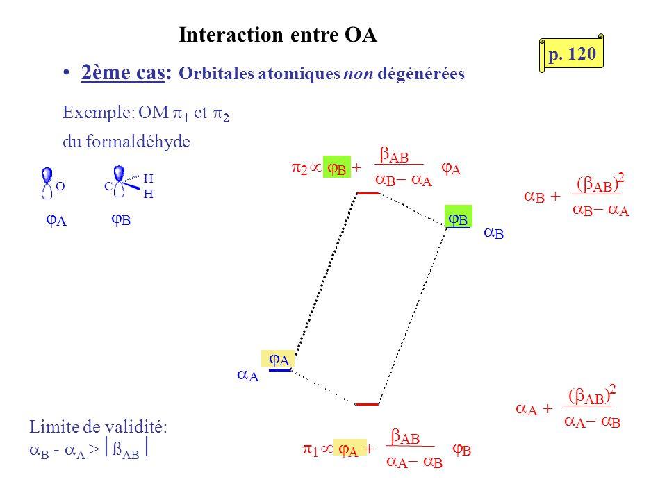 Interaction entre OA 2ème cas: Orbitales atomiques non dégénérées Exemple: OM et du formaldéhyde OC H H A B A B A B B B A A B B A Limite de validité: