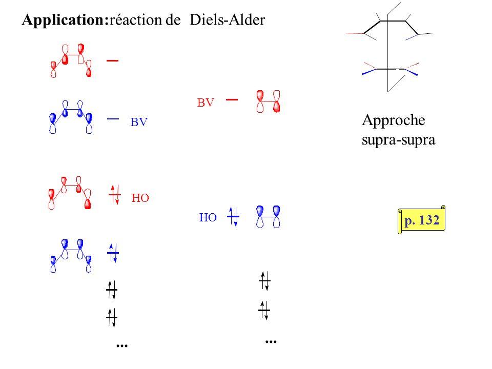 Application:réaction de Diels-Alder Approche supra-supra... HO HO BV BV p. 132