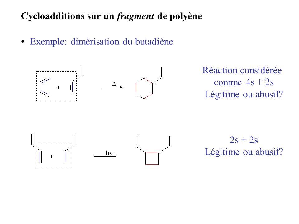 Cycloadditions sur un fragment de polyène Exemple: dimérisation du butadiène Réaction considérée comme 4s + 2s Légitime ou abusif? 2s + 2s Légitime ou