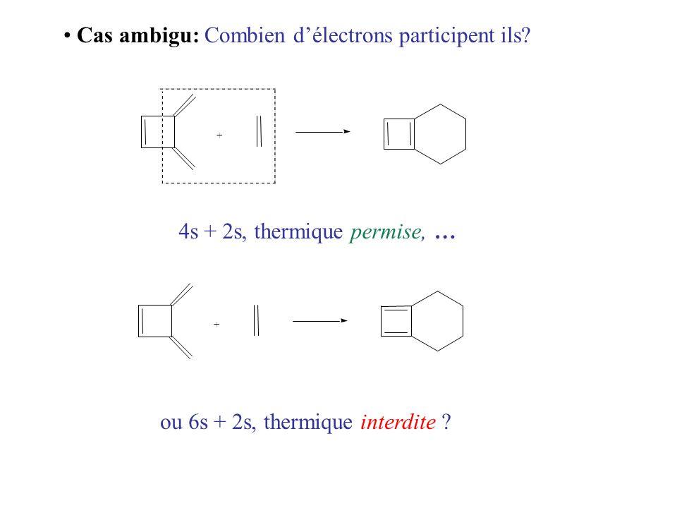 Cas ambigu: Combien délectrons participent ils? + + 4s + 2s, thermique permise, … ou 6s + 2s, thermique interdite ?