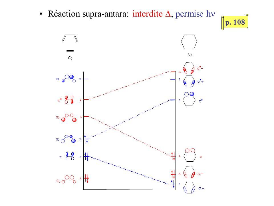 Nombre Réactions Réactions d électrons thermiques photochimiques ---------------------------------------------------------------- --------------------------------------------------------------- Généralisation: Règles de sélection (Woodward et Hoffmann) 4 n + 2 supra-supra 4 n supra-antara supra-supra supra-antara Thermiques ( ) vs Photochimiques (h ): Règles inversées supra-supra: facile supra-antara: difficile antara-antara: très rares, mêmes règles que supra-supra p.