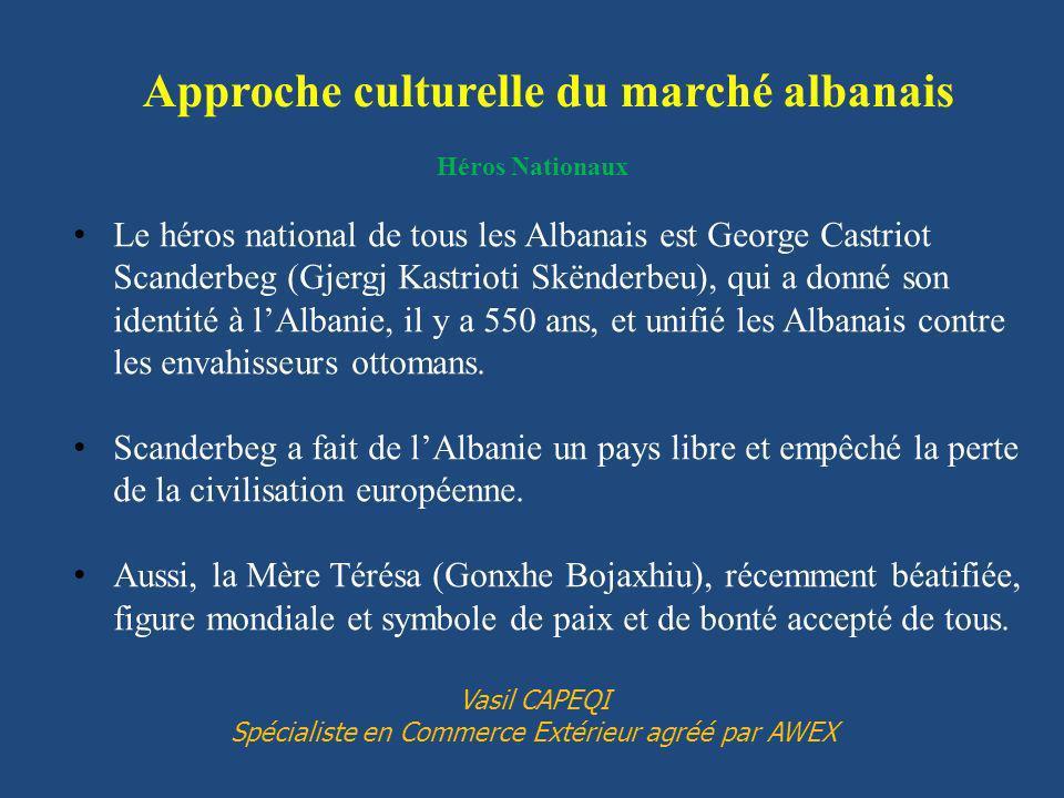 Héros Nationaux Le héros national de tous les Albanais est George Castriot Scanderbeg (Gjergj Kastrioti Skënderbeu), qui a donné son identité à lAlbanie, il y a 550 ans, et unifié les Albanais contre les envahisseurs ottomans.