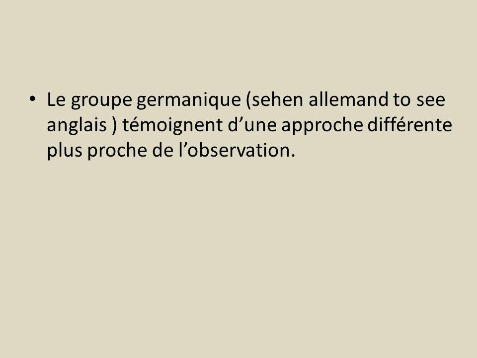 Le groupe germanique (sehen allemand to see anglais ) témoignent dune approche différente plus proche de lobservation.
