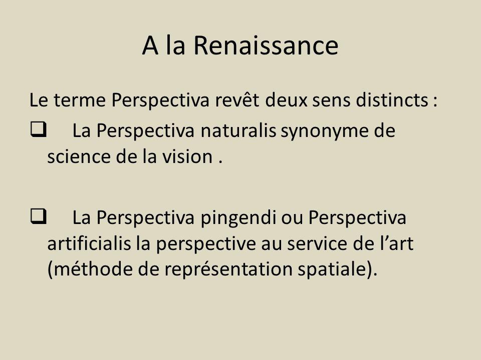 A la Renaissance Le terme Perspectiva revêt deux sens distincts : La Perspectiva naturalis synonyme de science de la vision. La Perspectiva pingendi o