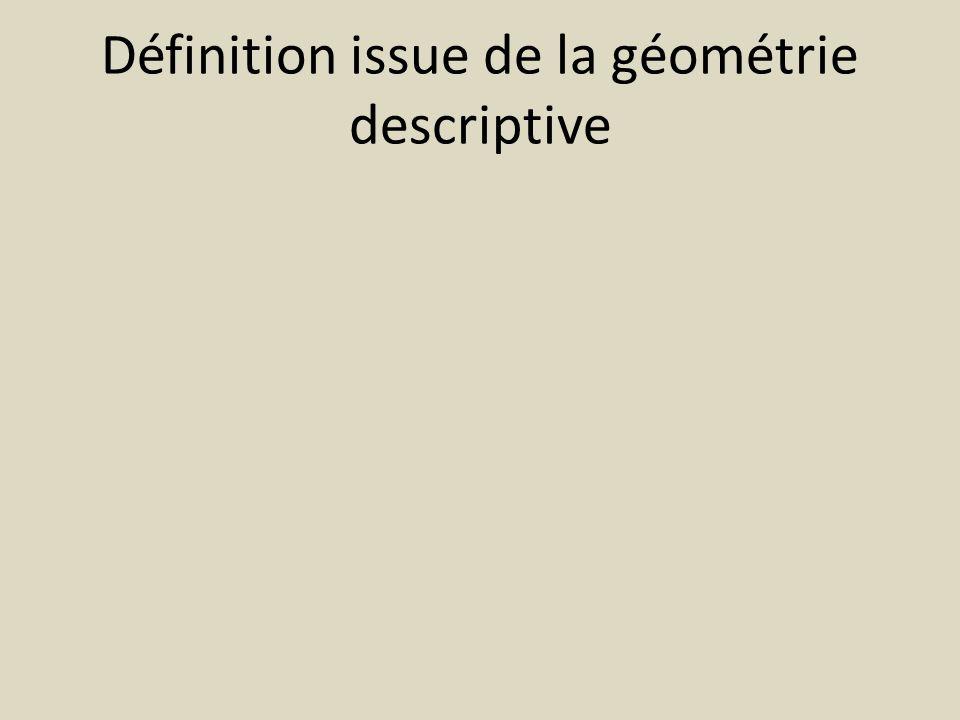 Définition issue de la géométrie descriptive