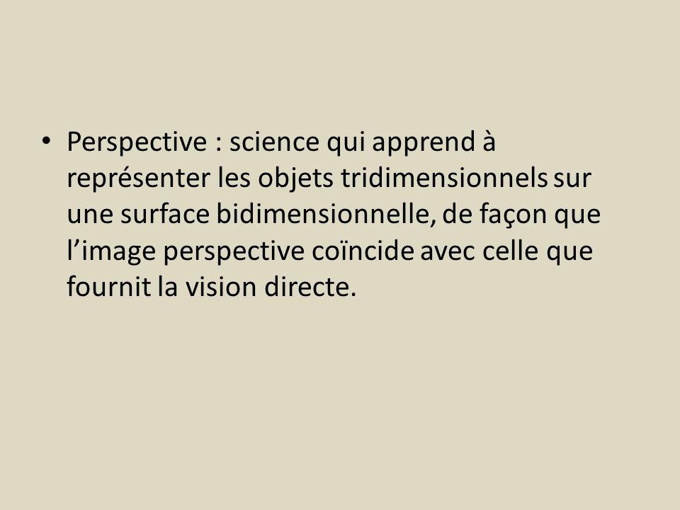 Perspective : science qui apprend à représenter les objets tridimensionnels sur une surface bidimensionnelle, de façon que limage perspective coïncide avec celle que fournit la vision directe.