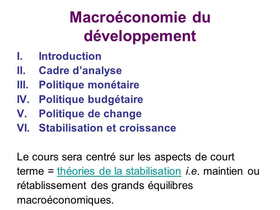 Macroéconomie du développement I.Introduction II.Cadre danalyse III.Politique monétaire IV.Politique budgétaire V.Politique de change VI.Stabilisation