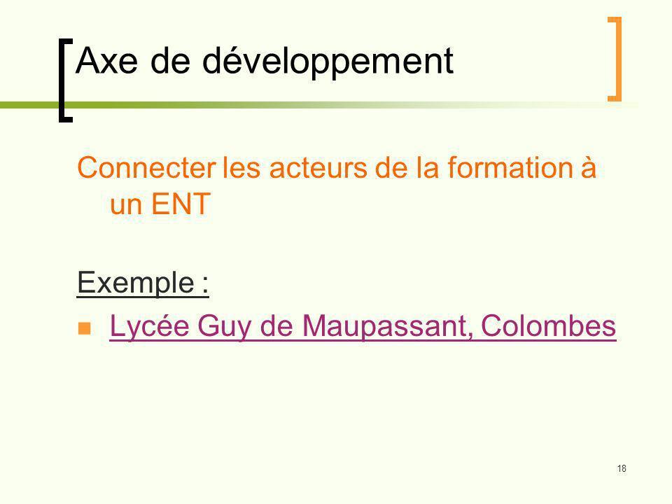 18 Axe de développement Connecter les acteurs de la formation à un ENT Exemple : Lycée Guy de Maupassant, Colombes