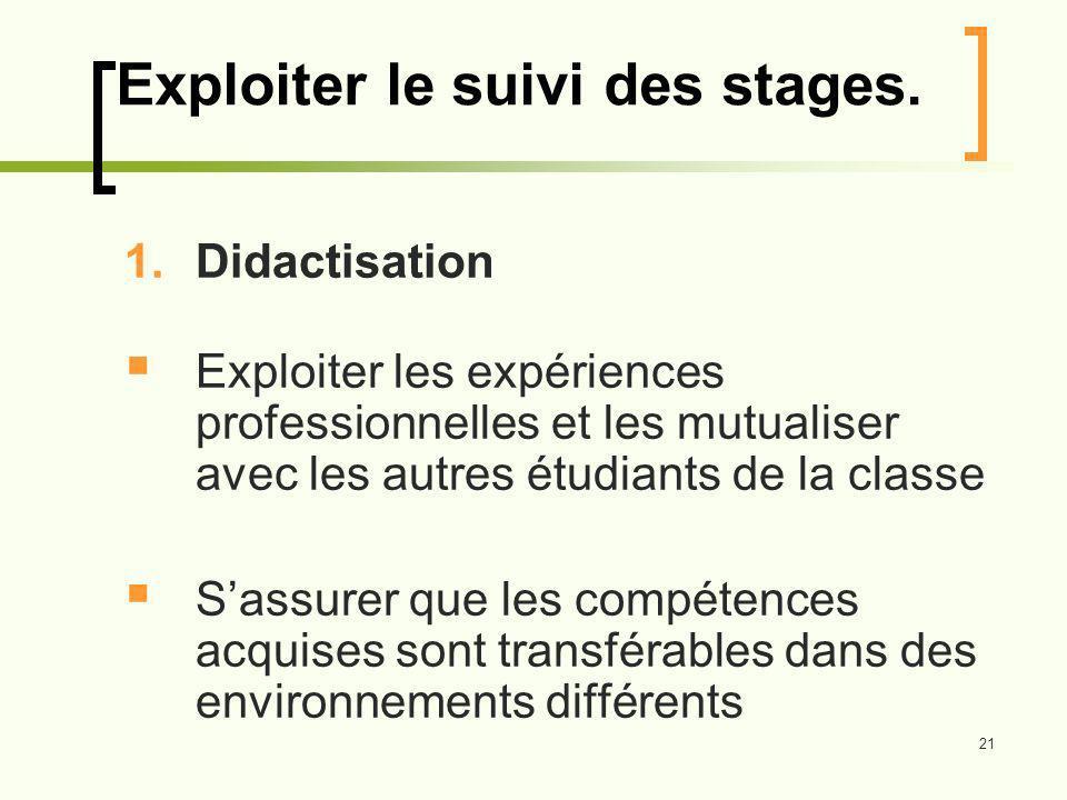 21 Exploiter le suivi des stages.