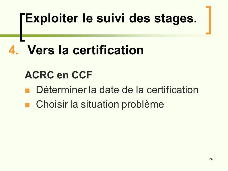 24 4.Vers la certification ACRC en CCF Déterminer la date de la certification Choisir la situation problème Exploiter le suivi des stages.