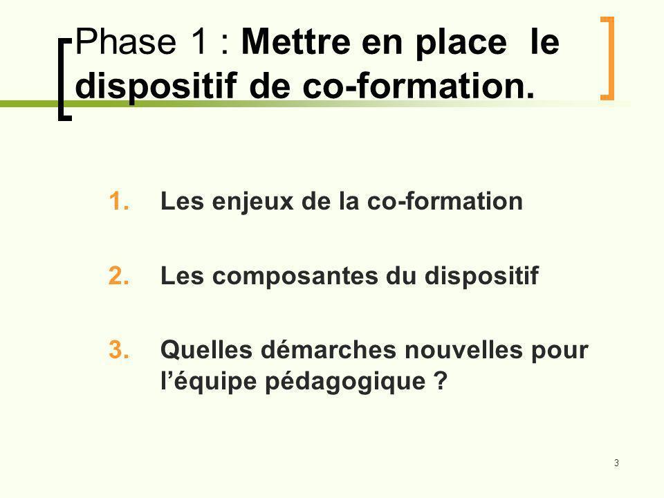 3 Phase 1 : Mettre en place le dispositif de co-formation.