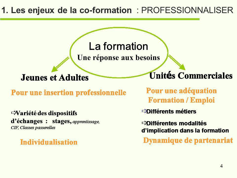 4 1. Les enjeux de la co-formation : PROFESSIONNALISER La formation Une réponse aux besoins Jeunes et Adultes Pour une insertion professionnelle Varié