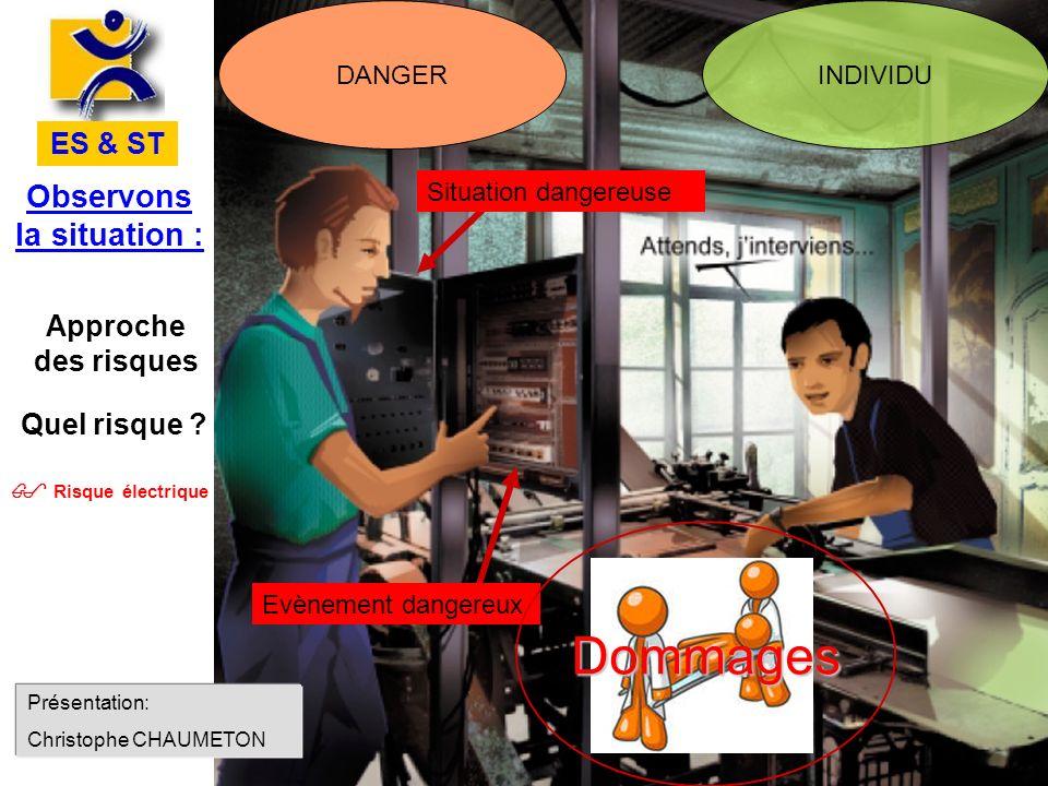 Observons la situation : ES & ST Risque électrique Approche des risques DANGERINDIVIDU Evènement dangereux Situation dangereuse Quel risque ? Dommages