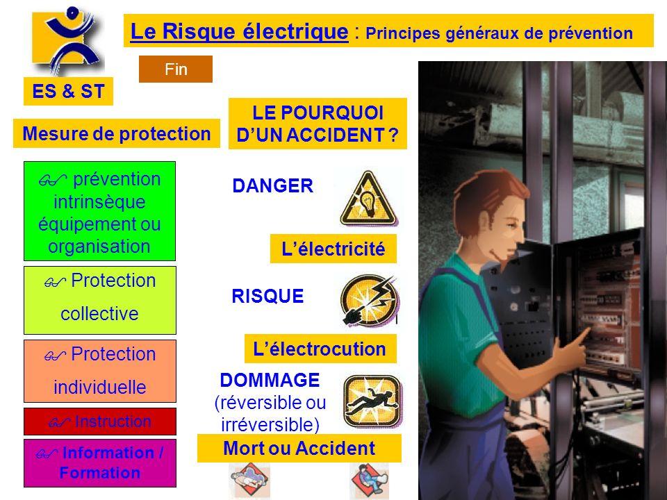 ES & ST Le Risque électrique : Principes généraux de prévention prévention intrinsèque équipement ou organisation Protection collective Protection ind