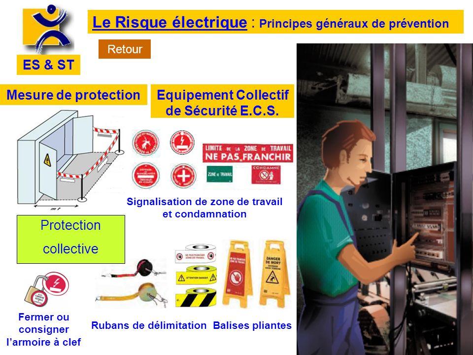 ES & ST Le Risque électrique : Principes généraux de prévention Mesure de protectionEquipement Collectif de Sécurité E.C.S. Signalisation de zone de t