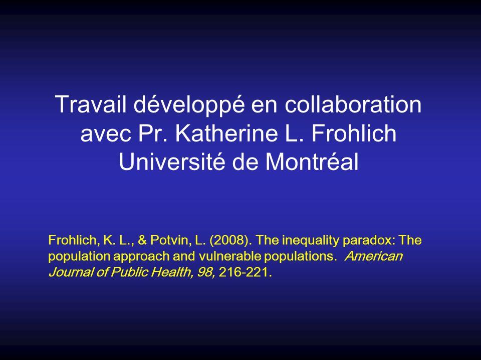 Travail développé en collaboration avec Pr. Katherine L. Frohlich Université de Montréal Frohlich, K. L., & Potvin, L. (2008). The inequality paradox: