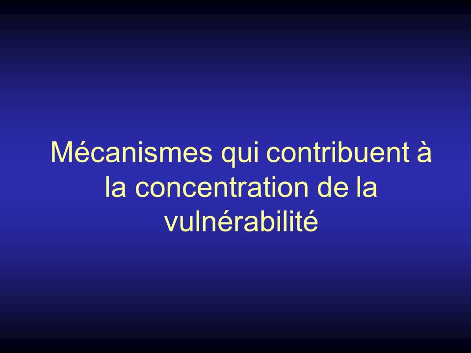 Mécanismes qui contribuent à la concentration de la vulnérabilité