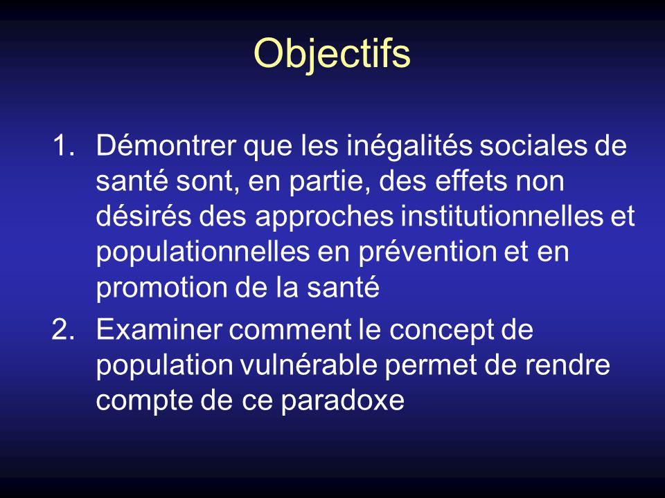Objectifs 1.Démontrer que les inégalités sociales de santé sont, en partie, des effets non désirés des approches institutionnelles et populationnelles