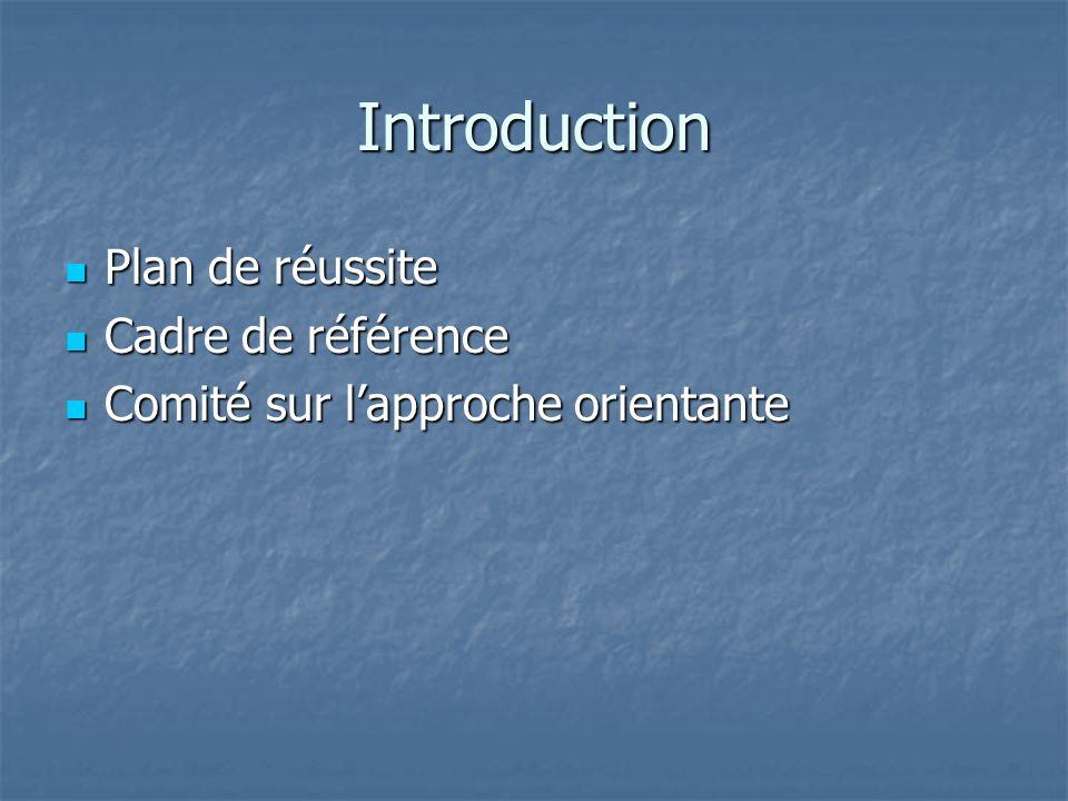 Introduction Plan de réussite Plan de réussite Cadre de référence Cadre de référence Comité sur lapproche orientante Comité sur lapproche orientante
