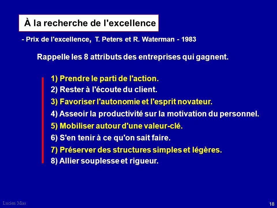 Lucien Mias 18 À la recherche de l excellence 2) Rester à l écoute du client.