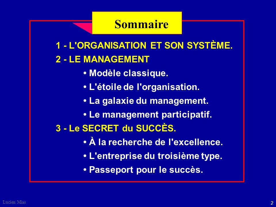 Lucien Mias 2 Sommaire 1 - L ORGANISATION ET SON SYSTÈME.