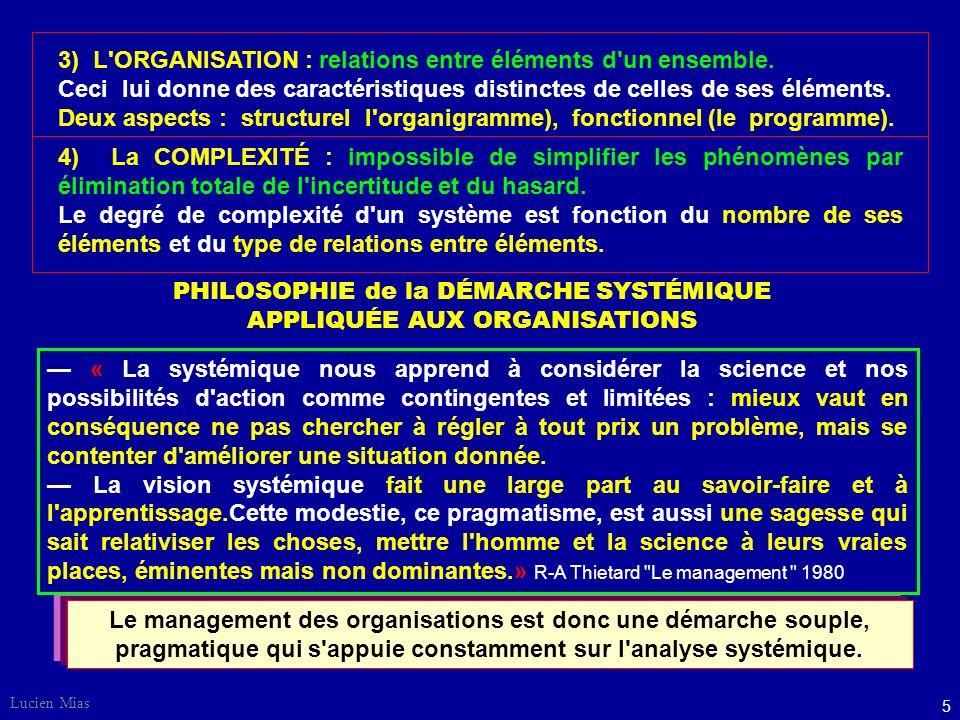 Lucien Mias 5 Le management des organisations est donc une démarche souple, pragmatique qui s appuie constamment sur l analyse systémique.