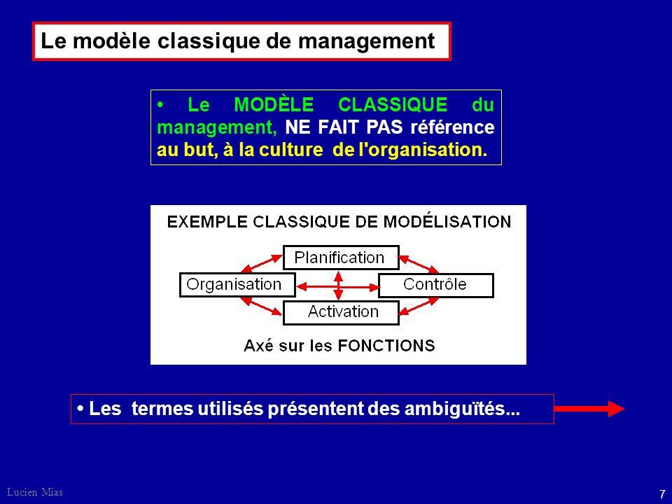 Lucien Mias 7 Le MODÈLE CLASSIQUE du management, NE FAIT PAS référence au but, à la culture de l organisation.