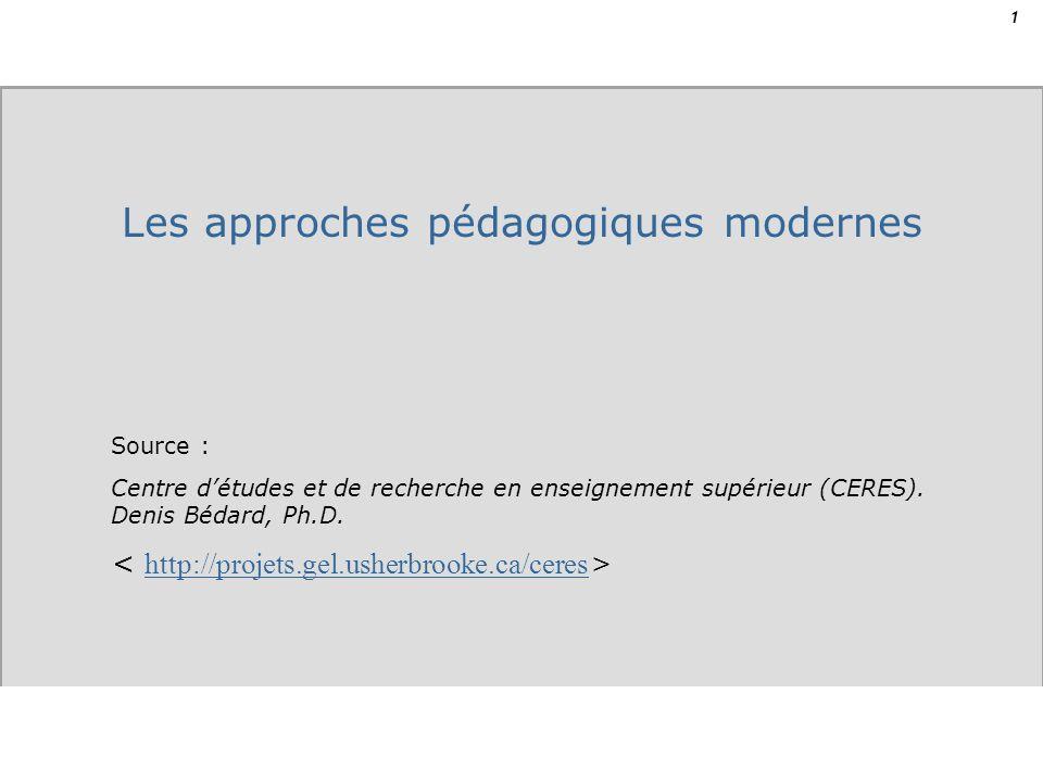 1 Source : Centre détudes et de recherche en enseignement supérieur (CERES). Denis Bédard, Ph.D. http://projets.gel.usherbrooke.ca/ceres Les approches