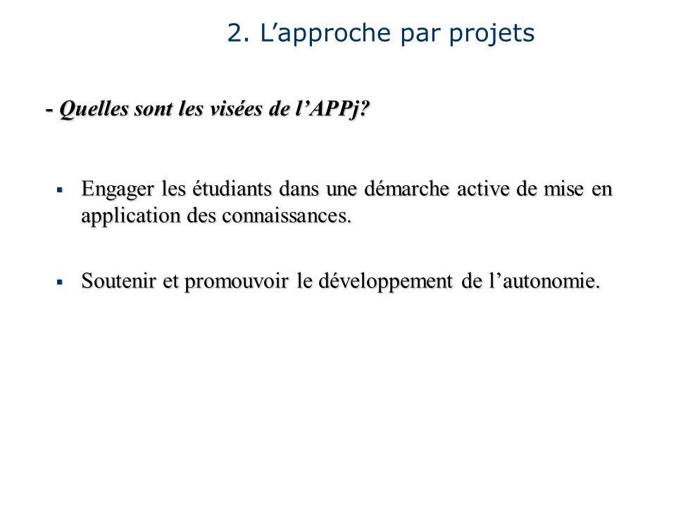 2. Lapproche par projets - Quelles sont les visées de lAPPj? Engager les étudiants dans une démarche active de mise en application des connaissances.