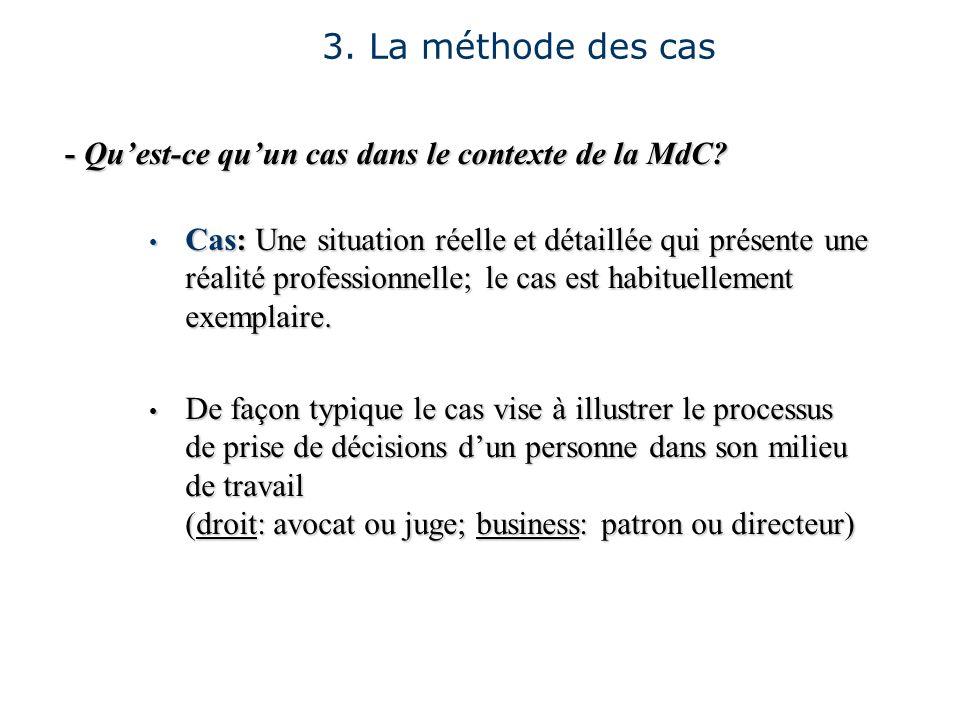 3. La méthode des cas - Quest-ce quun cas dans le contexte de la MdC? Cas: Une situation réelle et détaillée qui présente une réalité professionnelle;