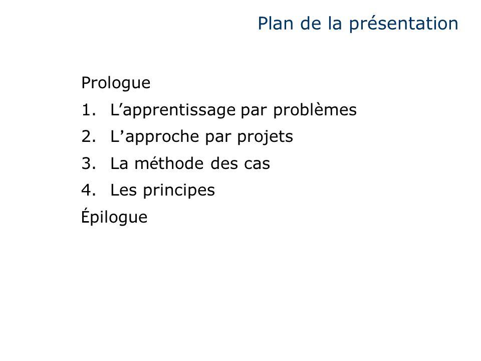 Plan de la présentation Prologue 1.Lapprentissage par problèmes 2.L approche par projets 3.La m é thode des cas 4.Les principes É pilogue