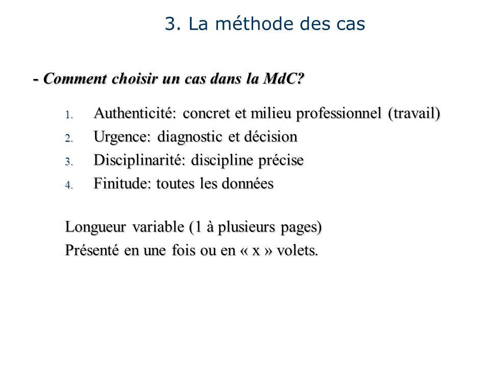 - Comment choisir un cas dans la MdC? 1. Authenticité: concret et milieu professionnel (travail) 2. Urgence: diagnostic et décision 3. Disciplinarité: