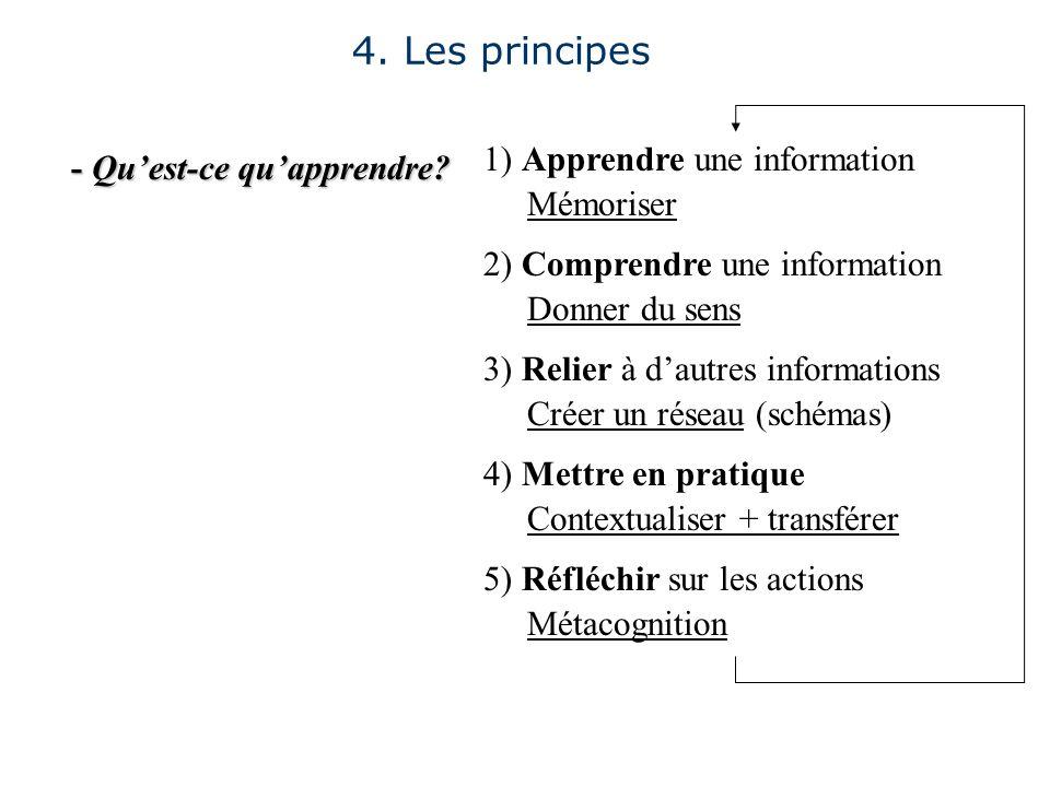 - Quest-ce quapprendre? 4. Les principes 1) Apprendre une information Mémoriser 2) Comprendre une information Donner du sens 3) Relier à dautres infor