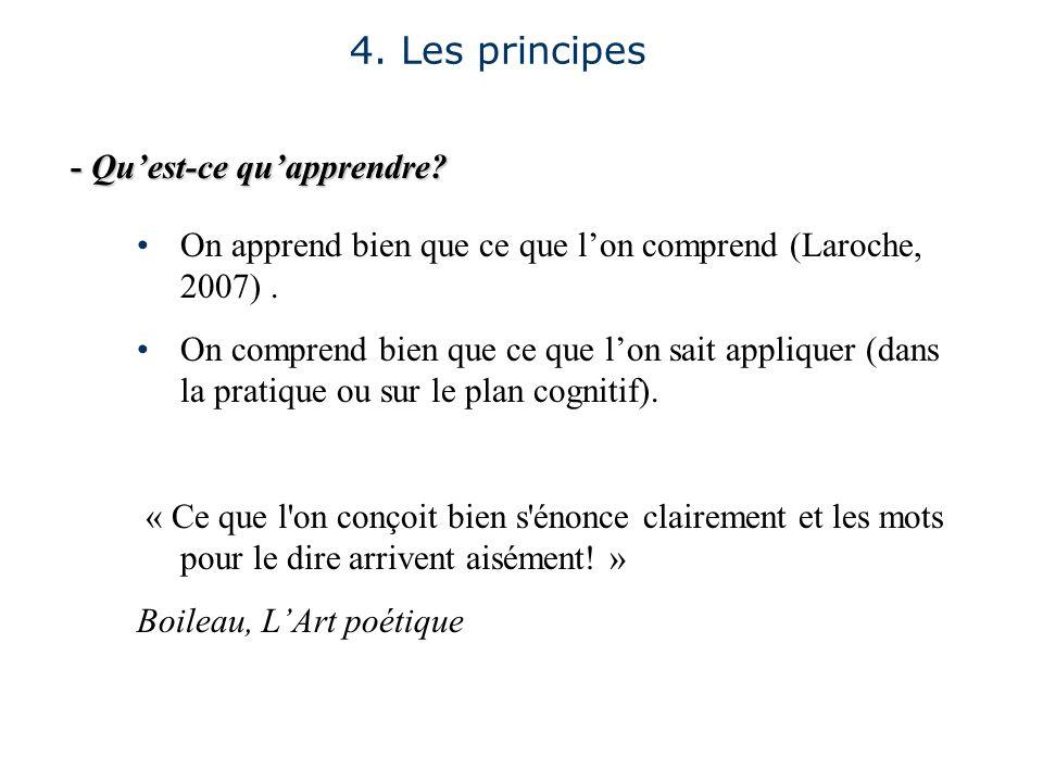 - Quest-ce quapprendre? 4. Les principes On apprend bien que ce que lon comprend (Laroche, 2007). On comprend bien que ce que lon sait appliquer (dans