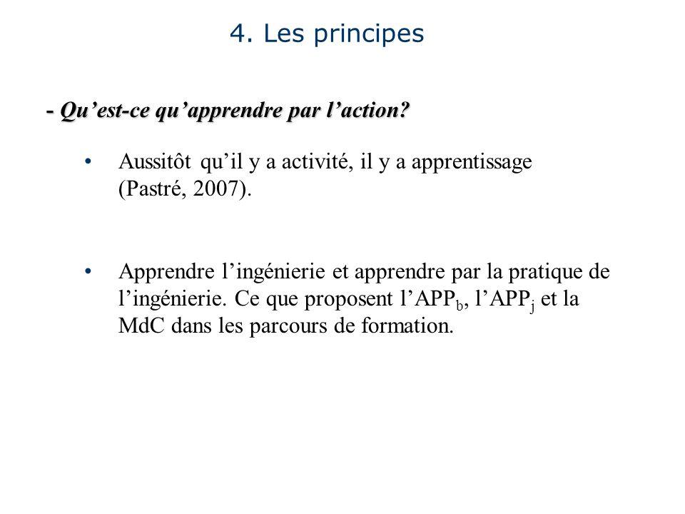 - Quest-ce quapprendre par laction? 4. Les principes Aussitôt quil y a activité, il y a apprentissage (Pastré, 2007). Apprendre lingénierie et apprend
