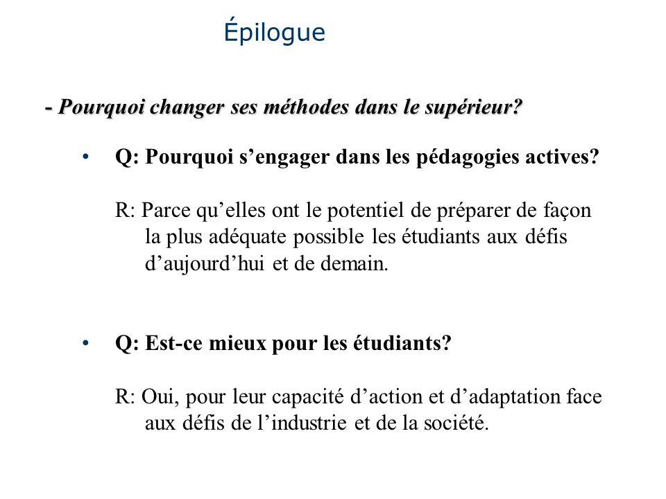 - Pourquoi changer ses méthodes dans le supérieur? Épilogue Q: Pourquoi sengager dans les pédagogies actives? R: Parce quelles ont le potentiel de pré
