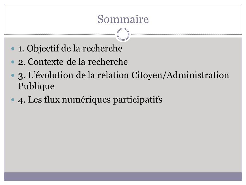 Sommaire 1. Objectif de la recherche 2. Contexte de la recherche 3. Lévolution de la relation Citoyen/Administration Publique 4. Les flux numériques p