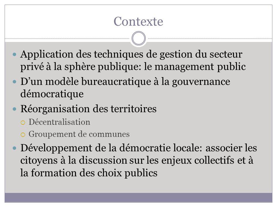 Contexte Application des techniques de gestion du secteur privé à la sphère publique: le management public Dun modèle bureaucratique à la gouvernance