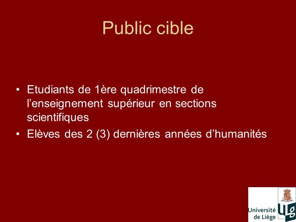 Public cible Etudiants de 1ère quadrimestre de lenseignement supérieur en sections scientifiques Elèves des 2 (3) dernières années dhumanités