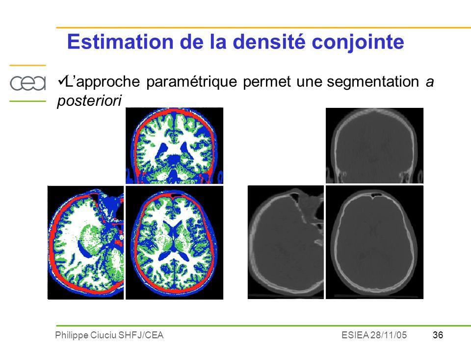 36Philippe Ciuciu SHFJ/CEAESIEA 28/11/05 Lapproche paramétrique permet une segmentation a posteriori Estimation de la densité conjointe