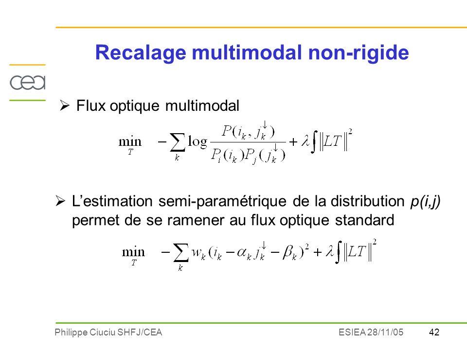 42Philippe Ciuciu SHFJ/CEAESIEA 28/11/05 Recalage multimodal non-rigide Flux optique multimodal Lestimation semi-paramétrique de la distribution p(i,j) permet de se ramener au flux optique standard