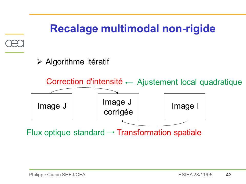 43Philippe Ciuciu SHFJ/CEAESIEA 28/11/05 Image JImage I Image J corrigée Correction d intensité Transformation spatiale Flux optique standard Ajustement local quadratique Algorithme itératif Recalage multimodal non-rigide