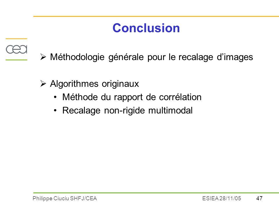 47Philippe Ciuciu SHFJ/CEAESIEA 28/11/05 Conclusion Méthodologie générale pour le recalage dimages Algorithmes originaux Méthode du rapport de corréla